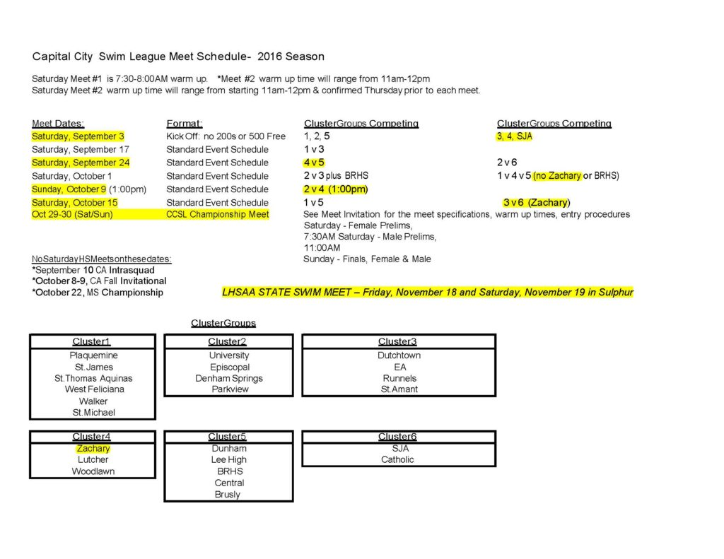 2016 HS Meet Schedule