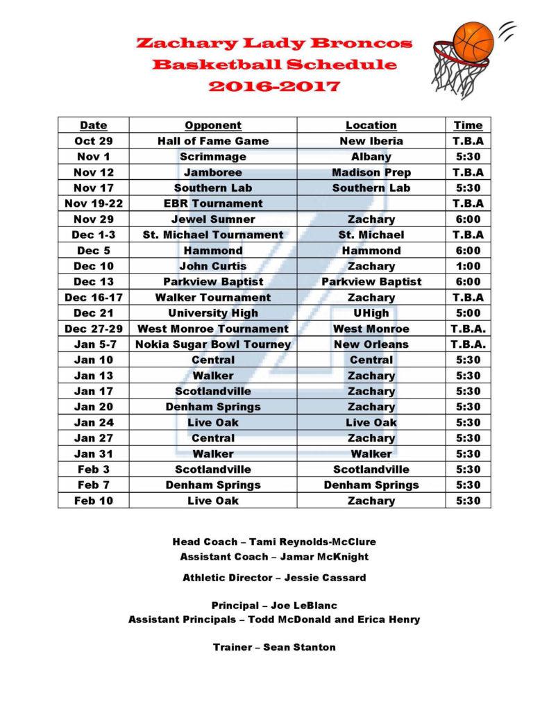 Girls Basketball schedule 2016-17